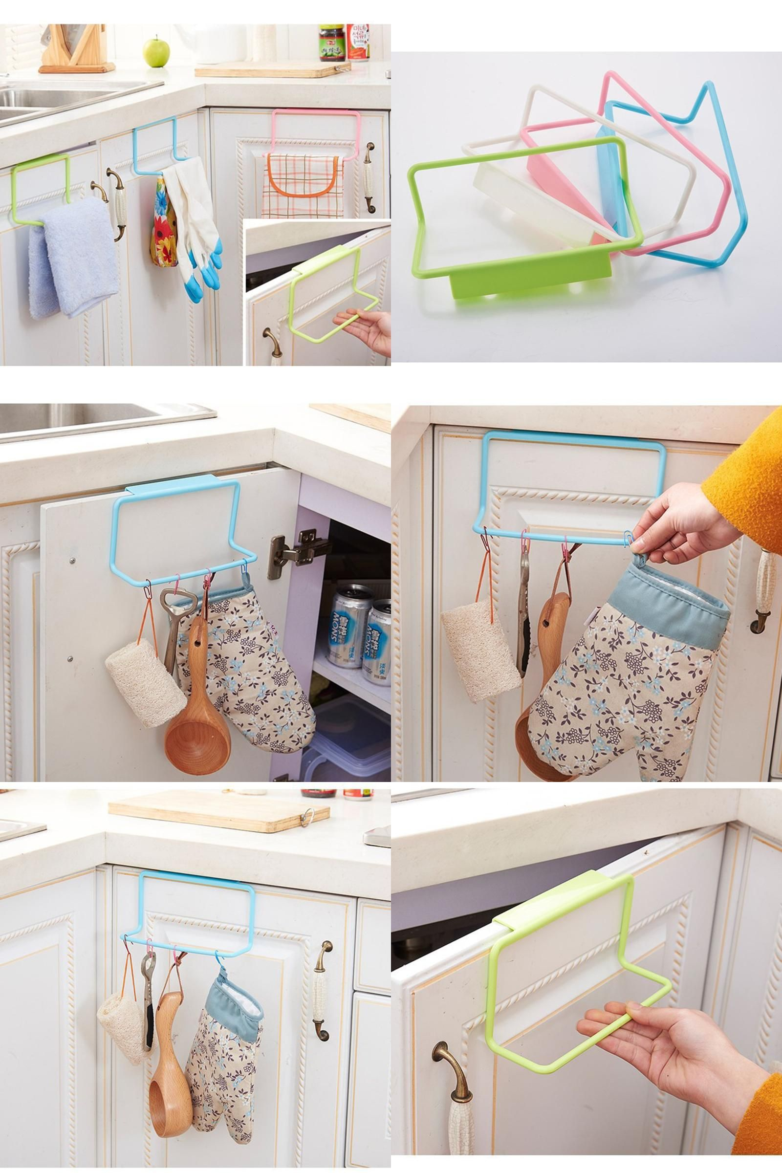 Visit To Buy Plastic Towel Rack Kitchen Cupboard Hanging Wash Cloth