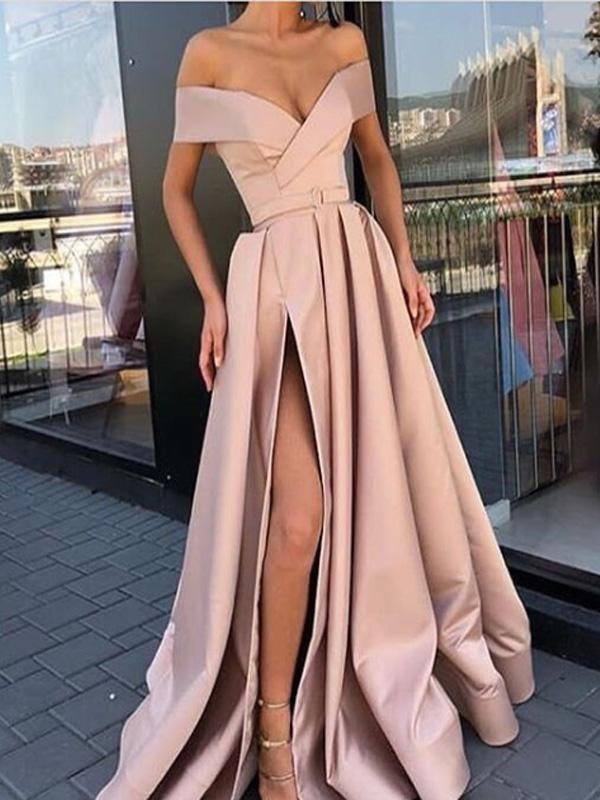 A Line Off The Shoulder Pink Satin Prom Dresses Cheap Prom Dresses Pdy0488 The Wedding Dresses Are Fully Li Robe De Bal En Satin Robe De Bal Robes De Bal Roses