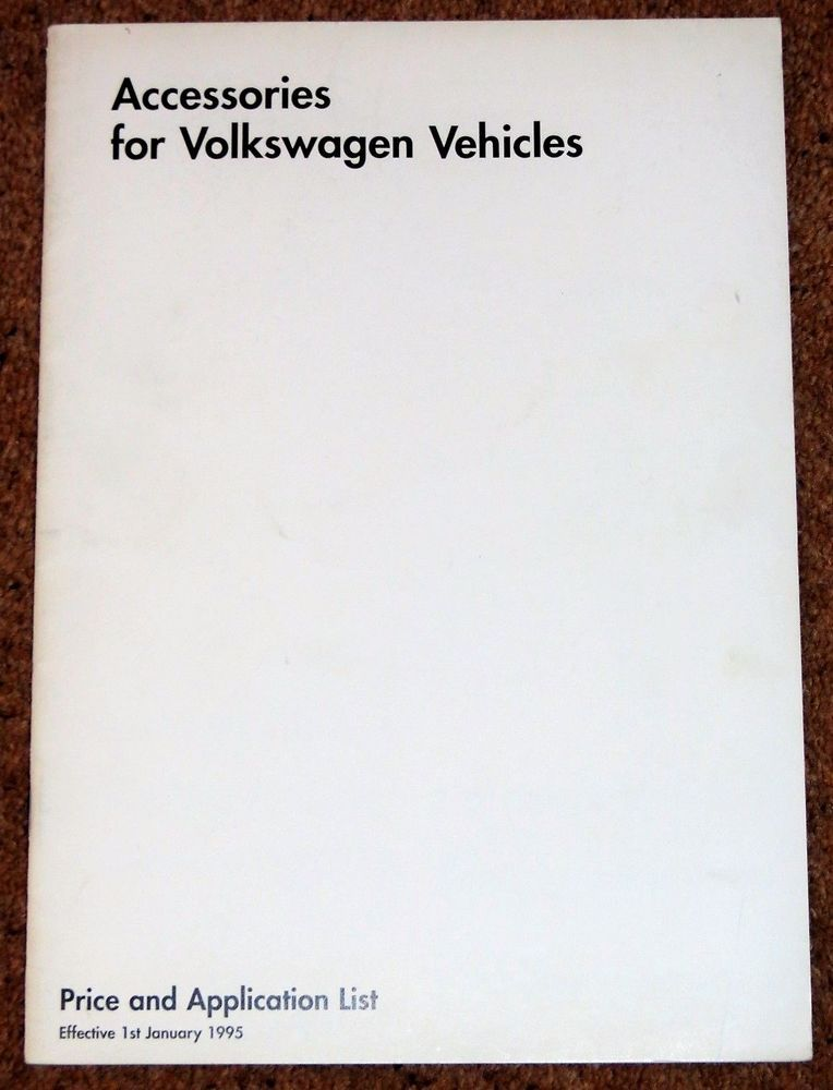 1995 VW ACCESSORIES PRICE LIST - Golf GTI, Polo G40, New Polo ...