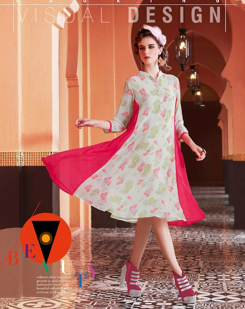 98ba6f2aee Readymade Off White And #Pink Georgette #Printed #Kurti #nikvik #usa # designer #australia #canada #freeshipping #dress #tunic