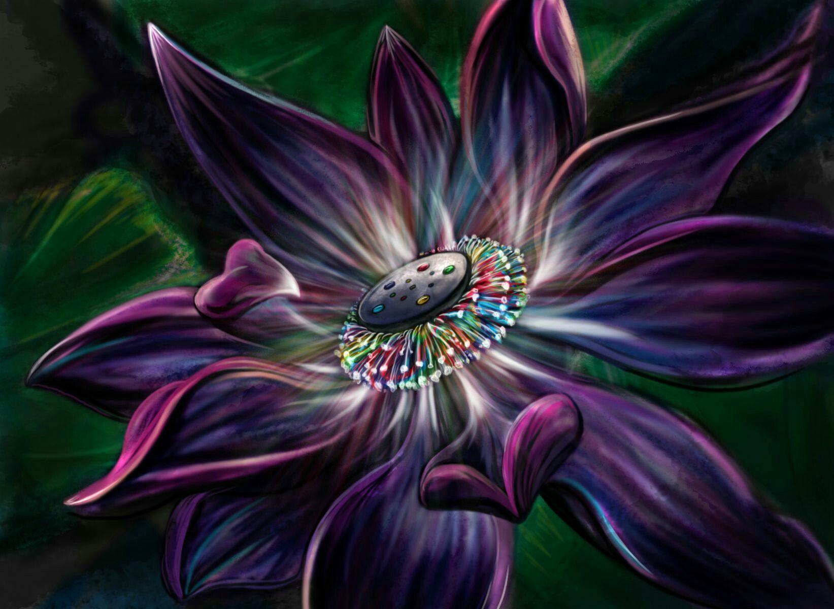 Trippy Psychedelic Purple Rainbow Lotus Flower Black Lotus Tattoo Lotus Magic The Gathering
