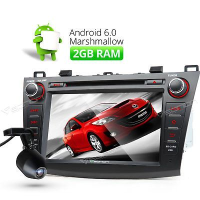 """﹩299.00. DVD DVR Android 6.0 2GB 8""""Car GPS for Mazda 3 Player BT Stereo DAB+ CD   Color - Black, Operation System - Android Marshmallow 6.0, Resolution - 1024*600, Screen Size - 8"""" High Definition Digital Capacitive Touch Screen, Unit size - 1 DIN, Mutual Control - Betweend head unit and your smart phone, Steering Wheel Control - Support( CANBUS System), WIFI/3G - Support(3G need to buy dongle extra), CPU - T3, Quad-Core, RAM 2GB, ROM 16GB, Supports app installation - Yes,"""