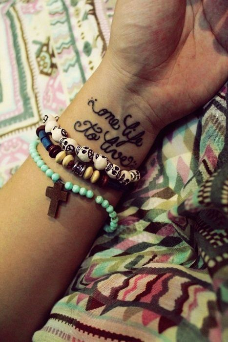 Vintage Black Short Life Quote Tattoos for Girls ...