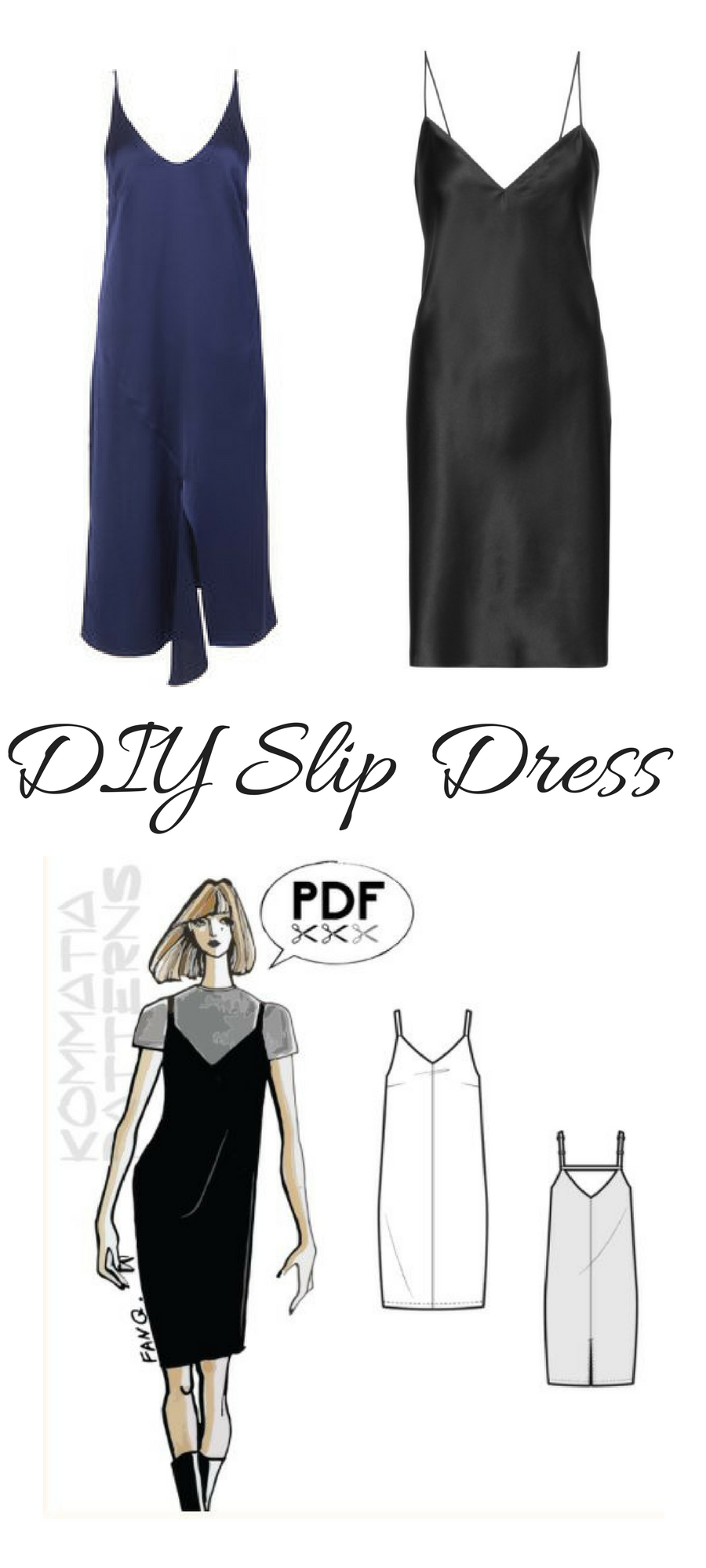 Slip dresses are so cool and easy to make. This PDF sewing pattern ...