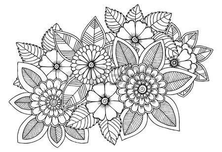 Patrón de flores en blanco y negro para colorear. Garabatos dibujo ...