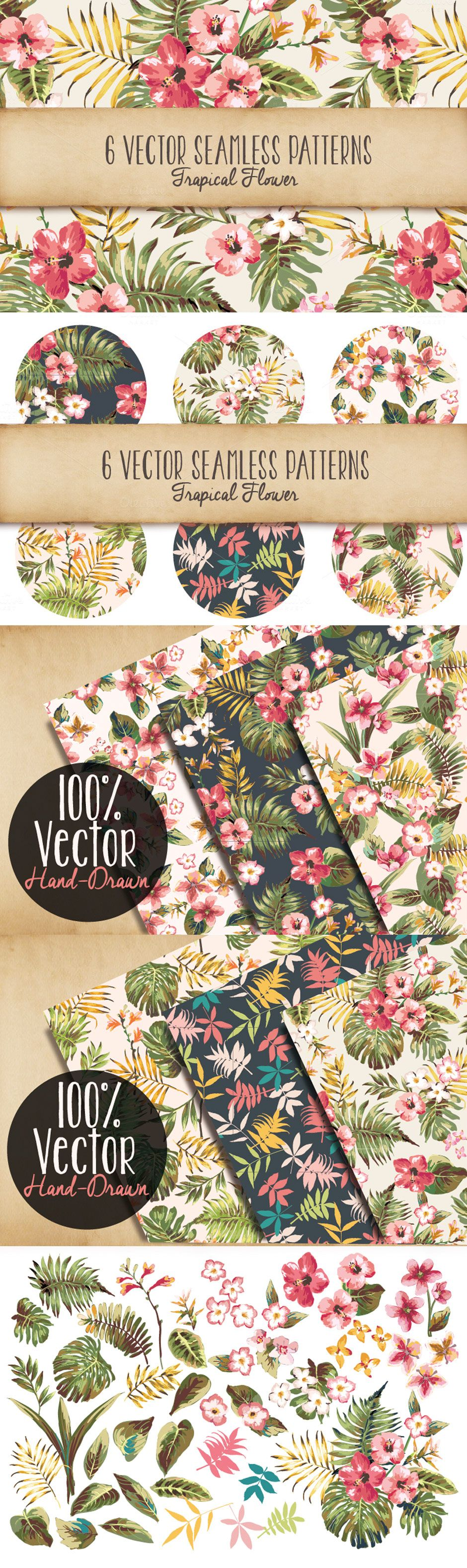 Seamless tropical patterns vol by graphic box the comprehensive