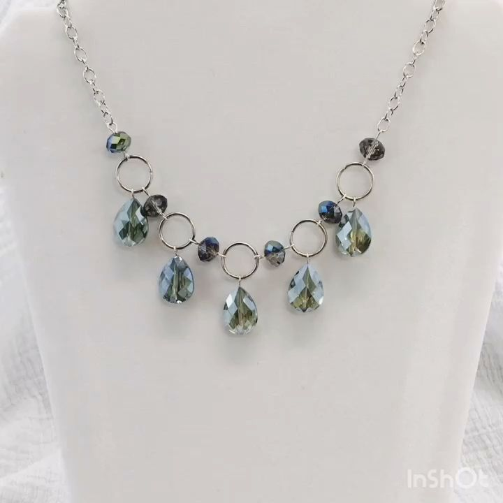 Beaded Crystal Necklace - Silver Necklace - Beaded Jewelry 1