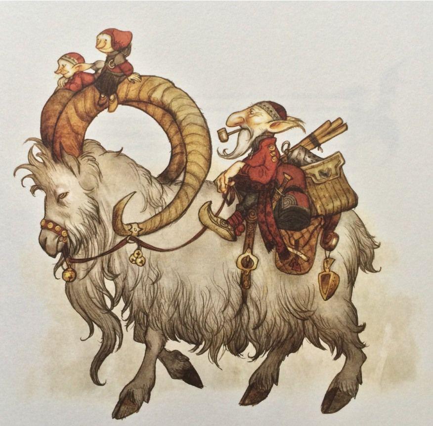 Vittra riding a goat, Johan Egerkrans Illustration