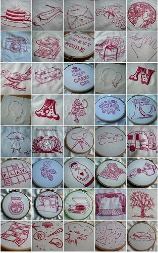 Text from feelingstitchy.com - Nova, who lives in Australia, and her mom, who lives in the UK, have been sticking small scraps of red & white fabrics into their letters to one another over the past several months. In addition, they've been working on small redwork pieces representing the special things they love and have special or personal meaning to them.  Nova's website -