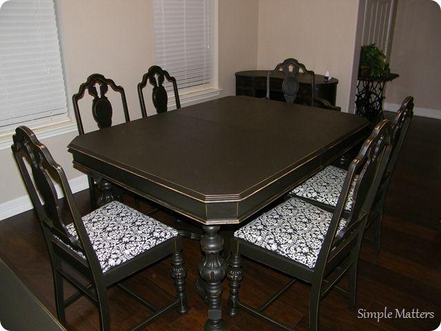 Black Antique Dining Set Vintage Dining Table Painted Dining Room Table Dining Table