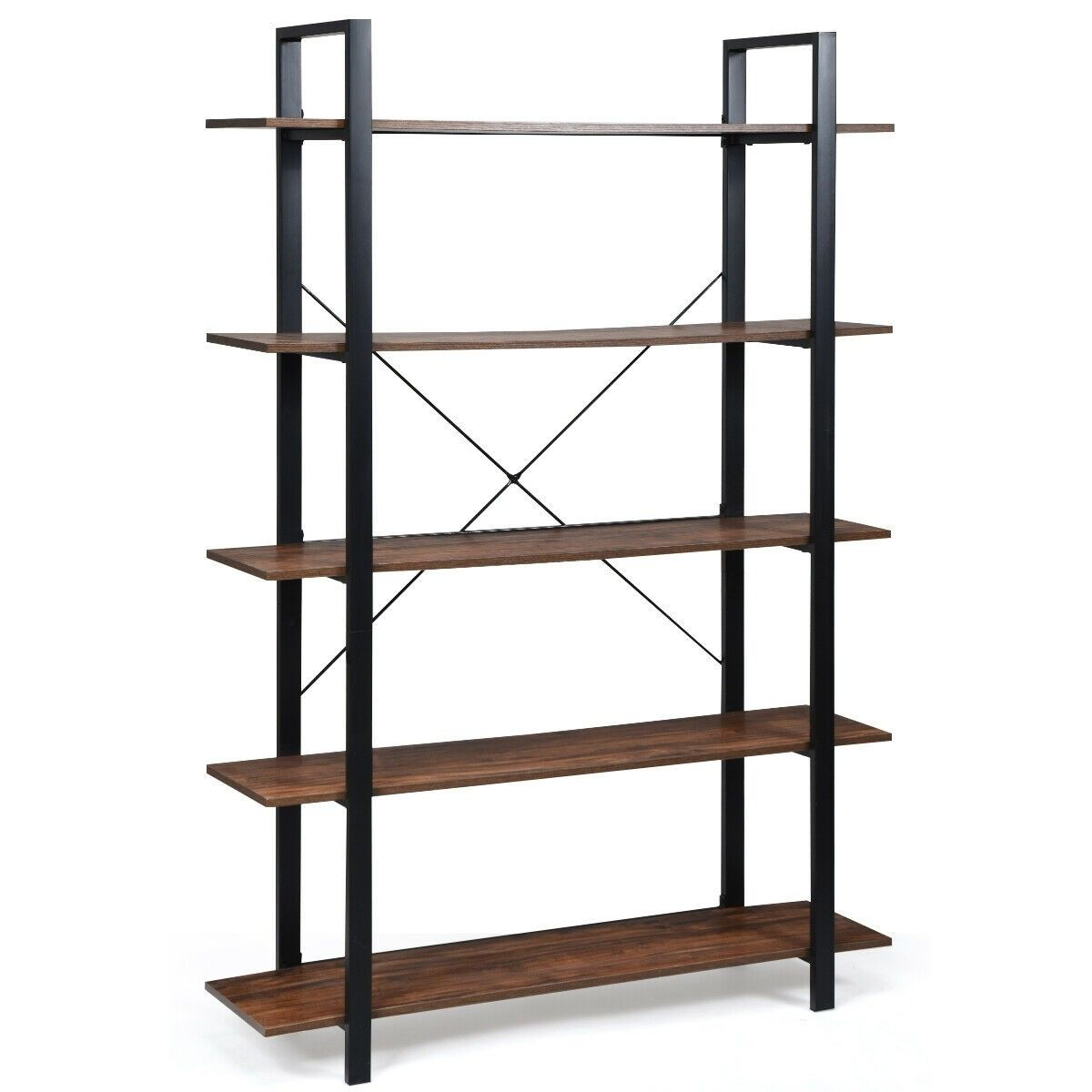 5 Tiers Bookshelf Industrial Bookcases Metal Frame Shelf Stand 129 95 Free Shipping It Is Made Of P2 Grade Industrial Bookcases Frame Shelf Display Shelves
