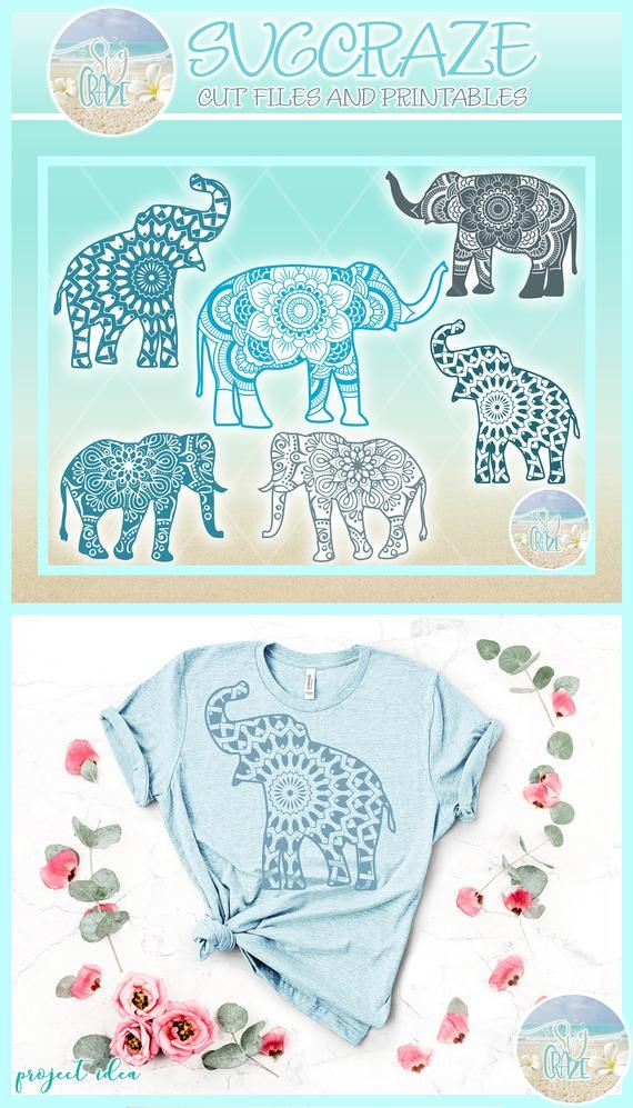 Elephant Mandala Bundle SVG Dxf Eps Pdf PNG Files for