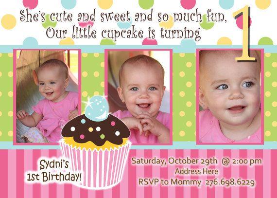 Sweet Treats Cupcake 1st Birthday Invite Girl Birthday Cards - invitation for 1st birthday party girl