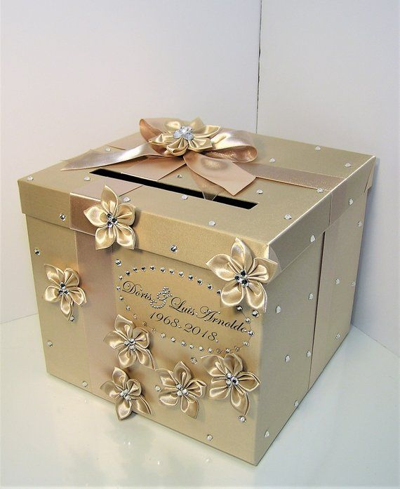 Wedding /Quinceañera/Sweet 16 Card Box Champagne color Gift Card Box Money Box Holder-Customize your color