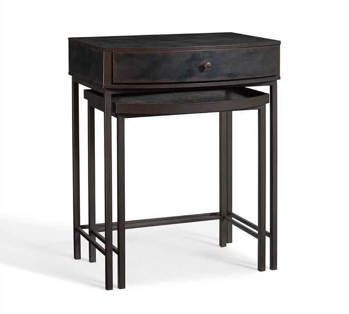 Best Woodrow Metal Bedside Nesting Table Dark Bronze Finish 400 x 300