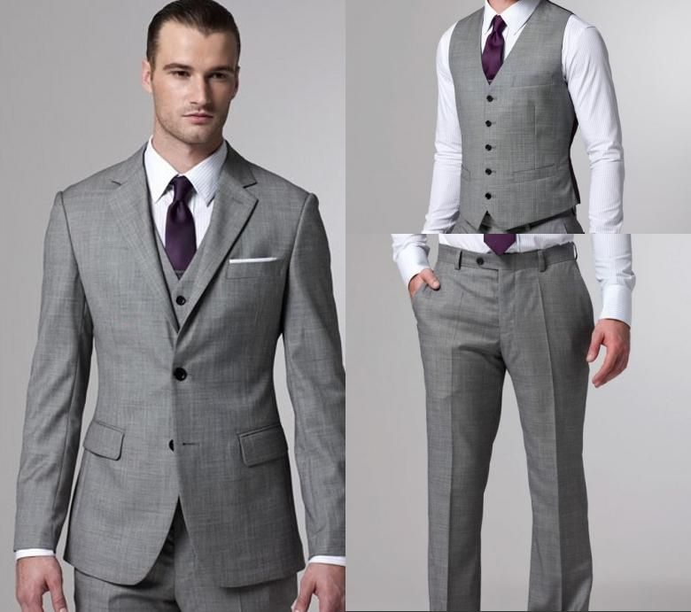 2014 Light Grey Side Slit Two Buttons Groom Tuxedos Notch Lapel ...