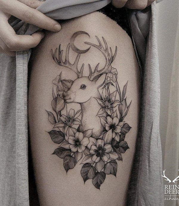 Deer Women Tattoo Ideas And Deer Women Tattoo Designs: 45 Inspiring Deer Tattoo Designs