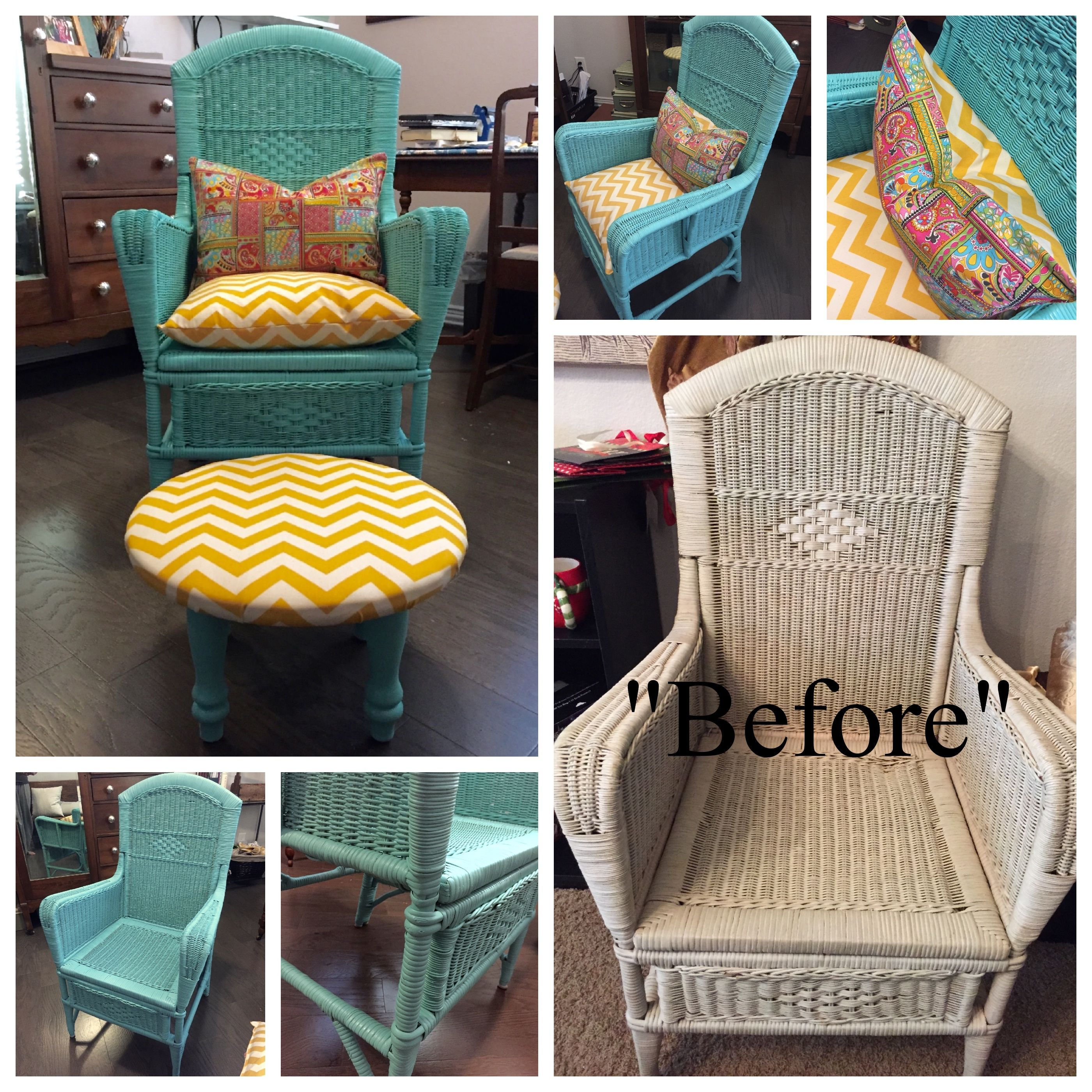Found This Old Wicker Chair A Couple Of Years Ago At A Garage Sale. I Think  I Paid $3 For It! I Always Thought It Would Be Fun In A Bright Color.