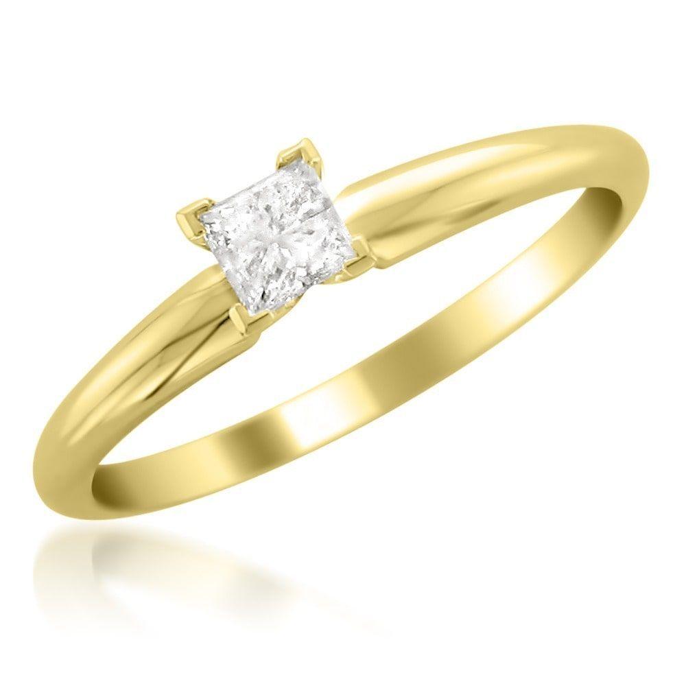 Montebello k gold ct tdw princess cut diamond solitaire ring