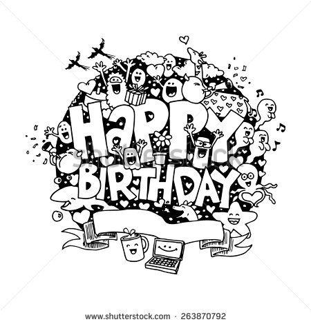 stockvectorhanddrawndoodleabouthappybirthdayinwhite – Doodle Birthday Card