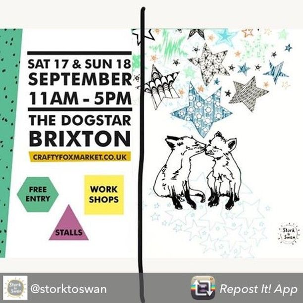 Repost from @storktoswan Preparing for #CraftyFoxMarket tomorrow. Part of the @brixtondesigntrail @l_d_f_official  #brixtondesign #rebelrebel #ldf16 #foxes #illustration #storktoswan #stars #kidsdecor @craftyfoxmarket