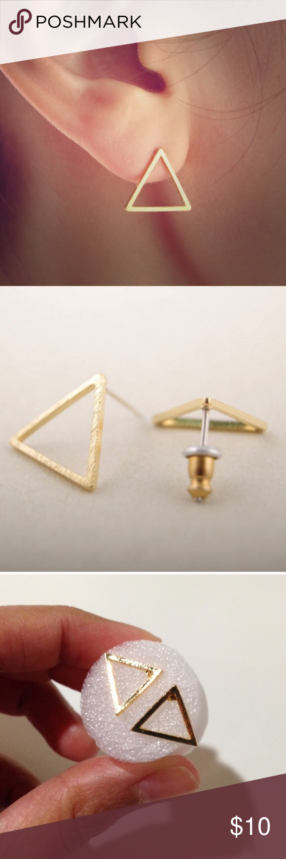 Triangle Gold Plated Earrings Brand new chic and classy triangle studs! Made of zinc alloy. Great to wear at the office or anywhere 💕 Jewelry Earrings