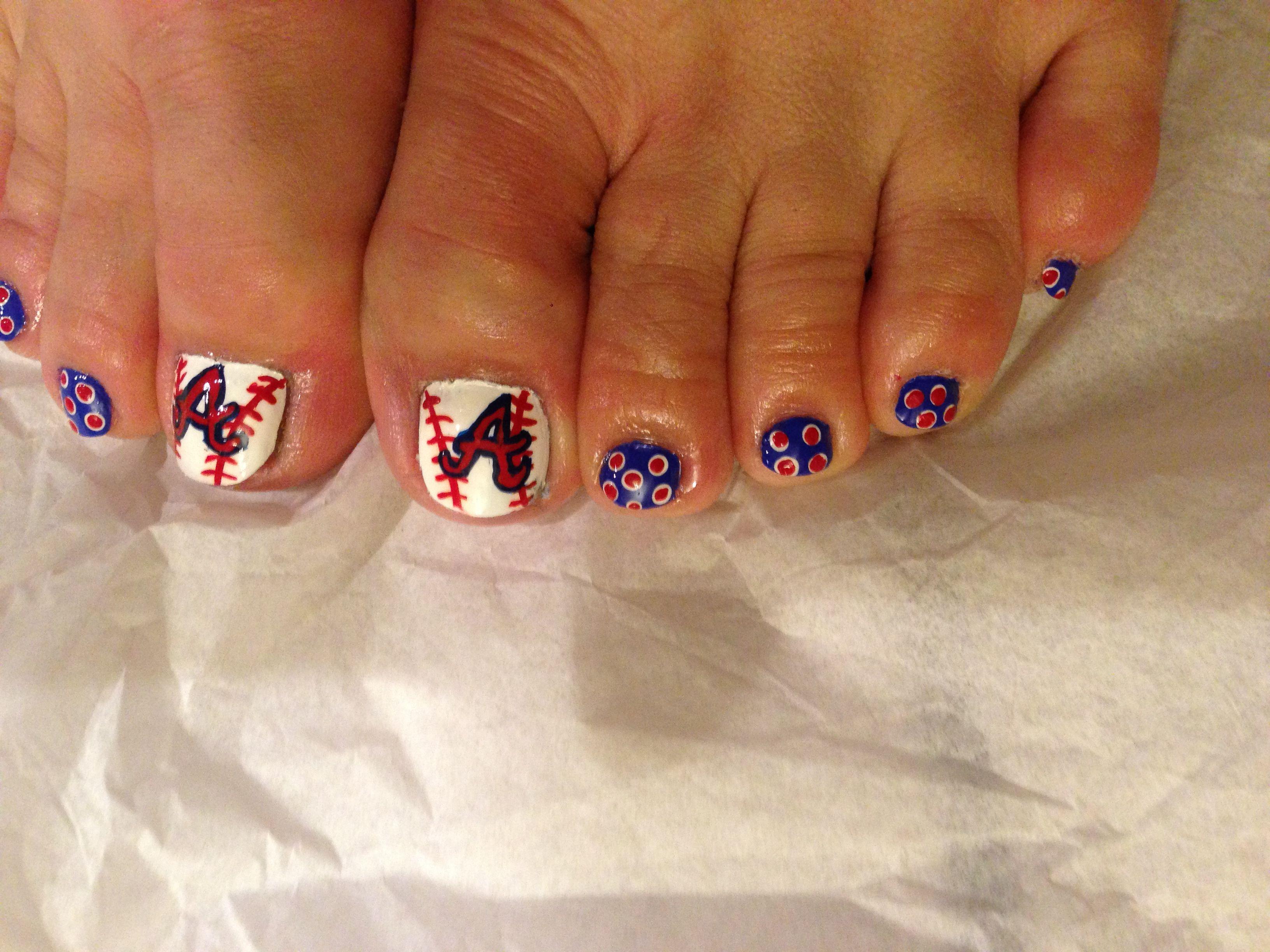 toe nail art. atlanta brave's baseball