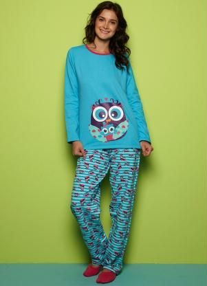 cdd9aa79a6d117 Pijama Adulto Feminino (Azul) Puket | SLEEPERY n UNDERWEAR | Pijama ...