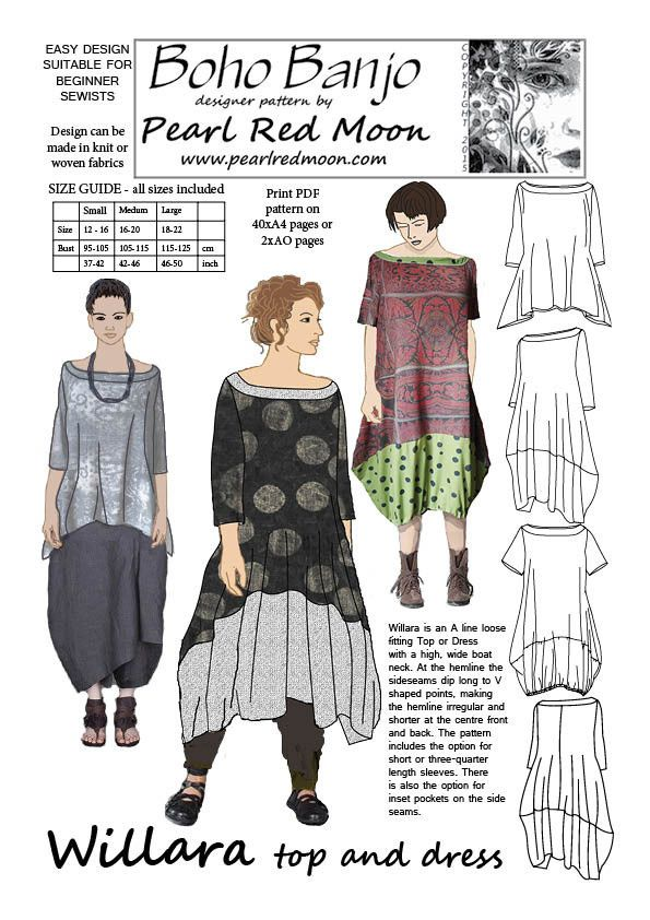 Willara, top and dress. pdf sewing pattern | Pinterest | Nähen ...