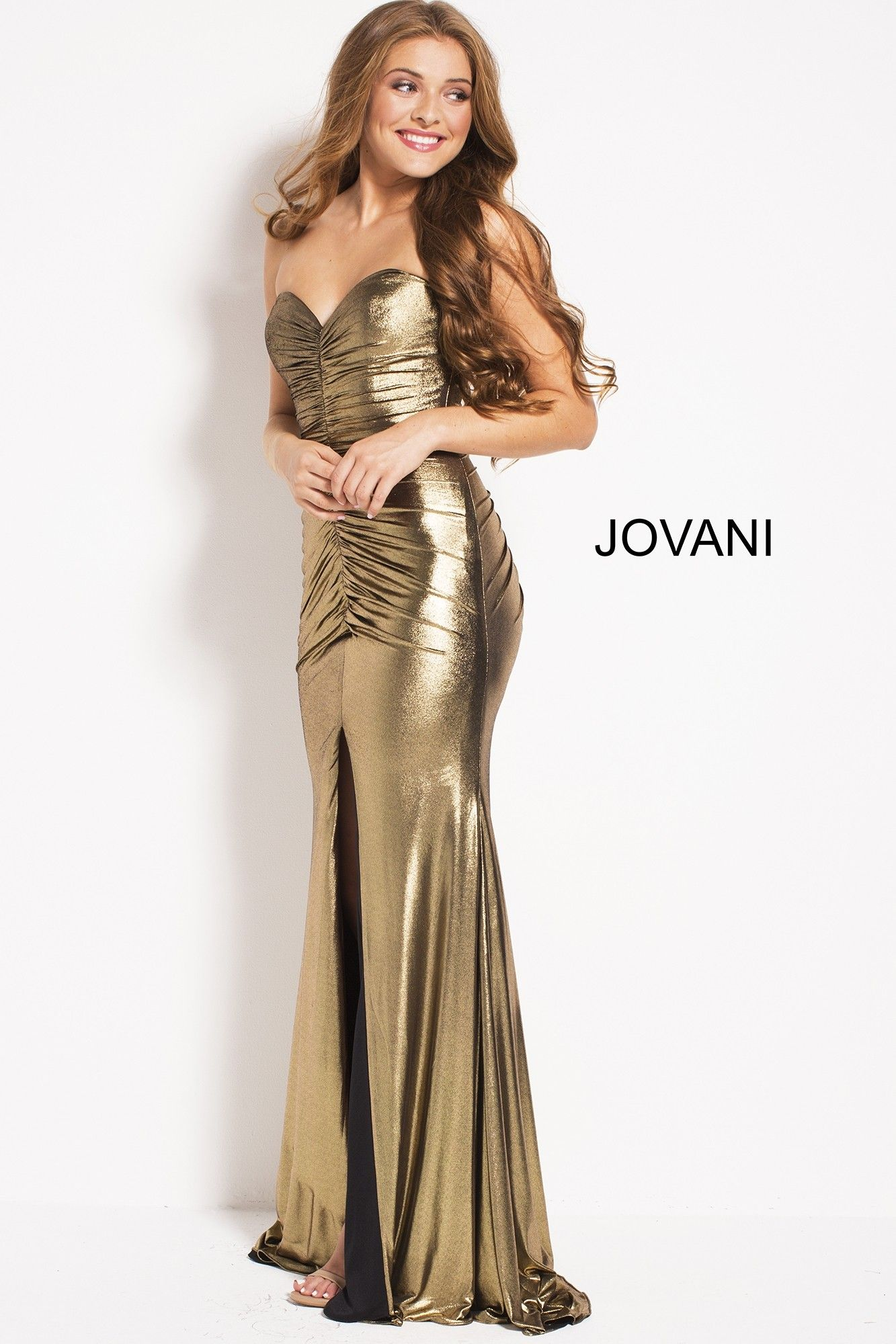 Jovani 51552 Ruched Metallic Gown with Slit   2018 Prom Dresses ...