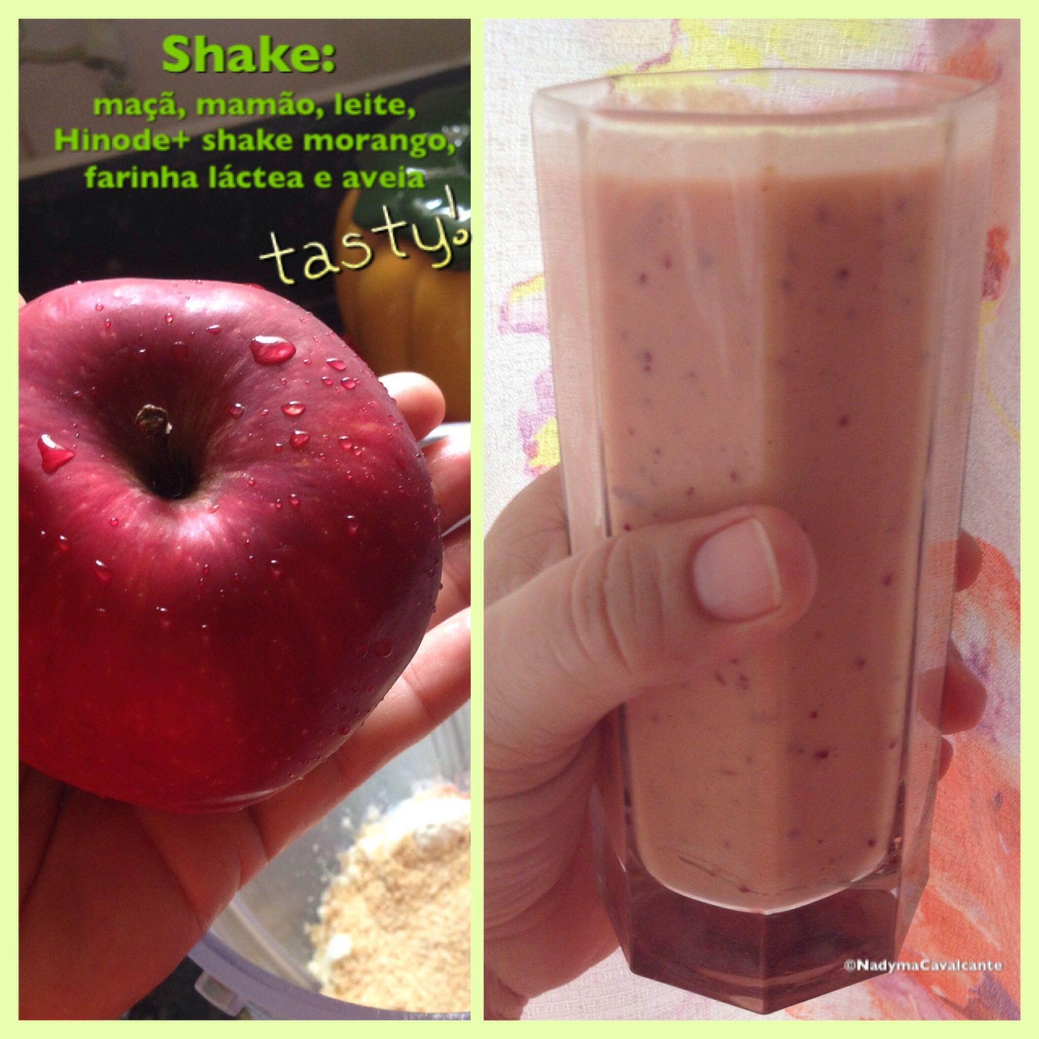 Shake: maçã, mamão, Hinode+ shake morango, leite, farinha láctea e aveia. Muito bom!