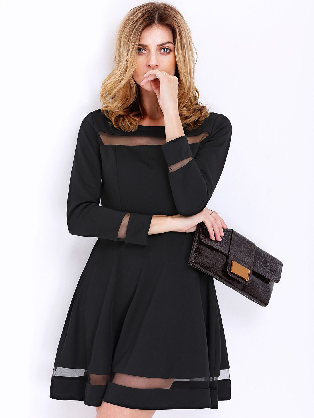 Black long sleeve contrast mesh yoke flare dress style pinterest