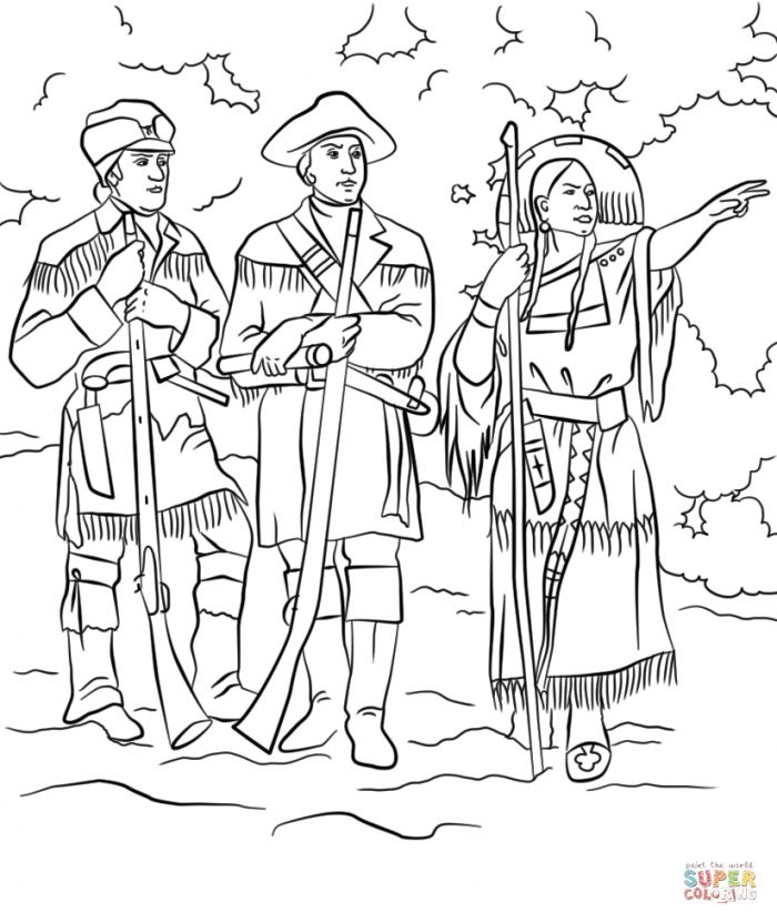 Sacagawea With Lewis And Clark Coloring Page | Free Printable in ...