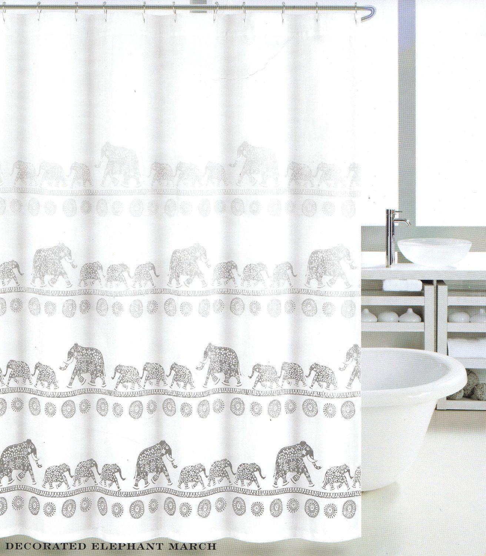 Tahari Luxury Mandala Elephant Oriental Boho Style Fabric Shower