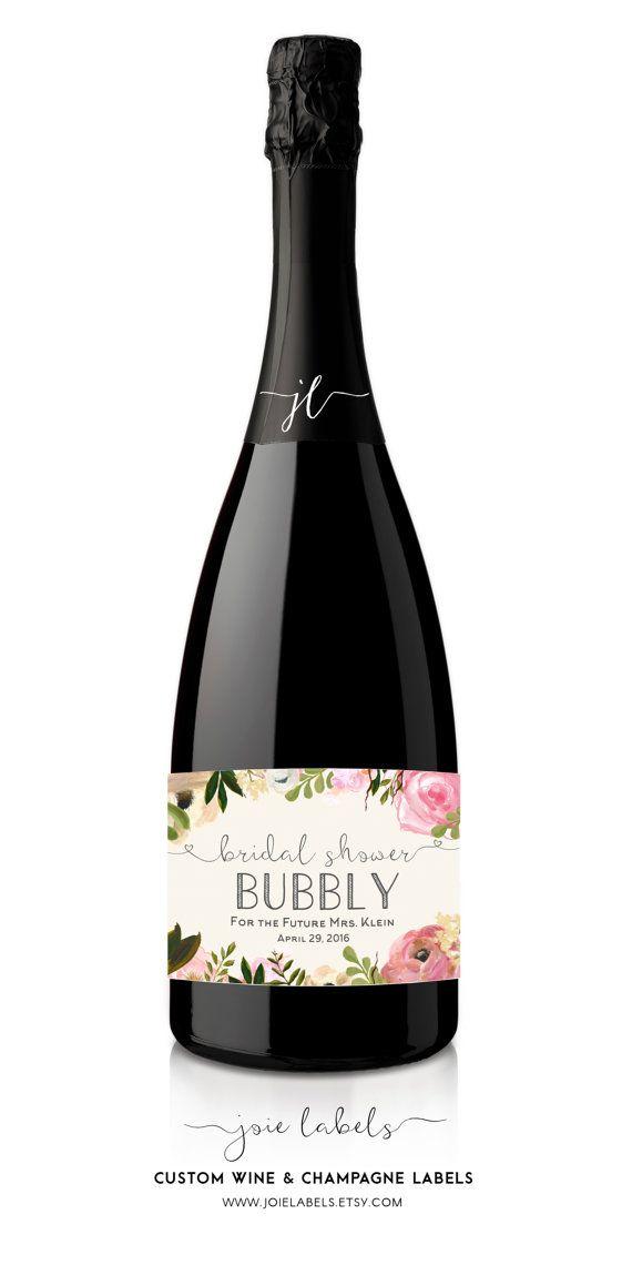 Custom Champagne Bottle Label for Bridal Shower