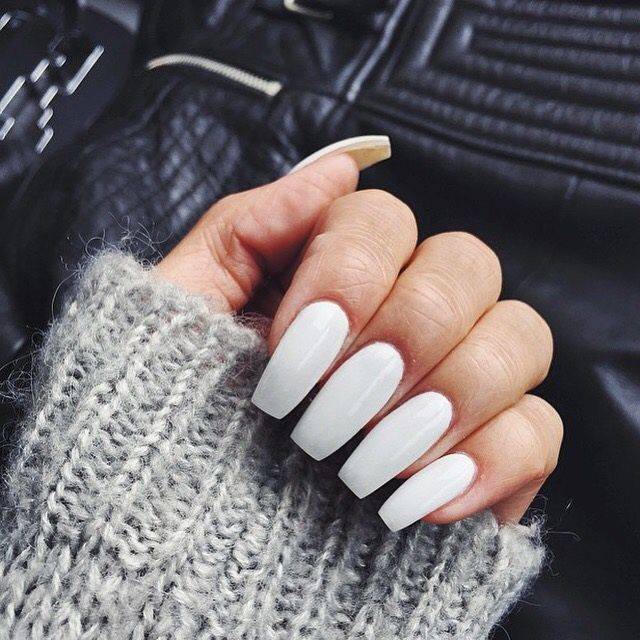 simple white long square coffin nails | Acrylic nails | Pinterest ...