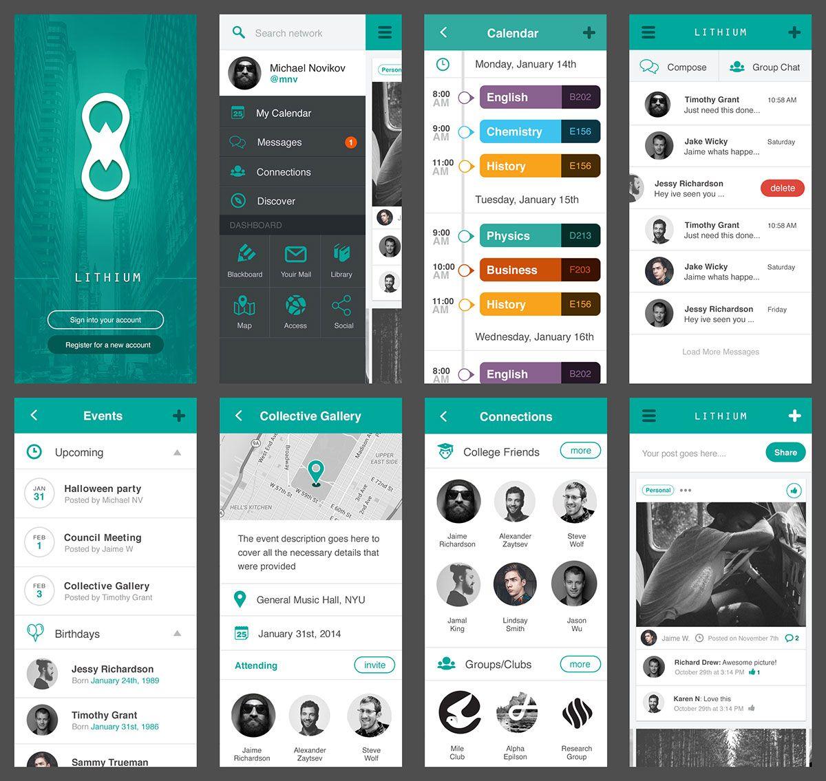 Lithium Free Mobile UI Kit PSD on Behance | iOS user