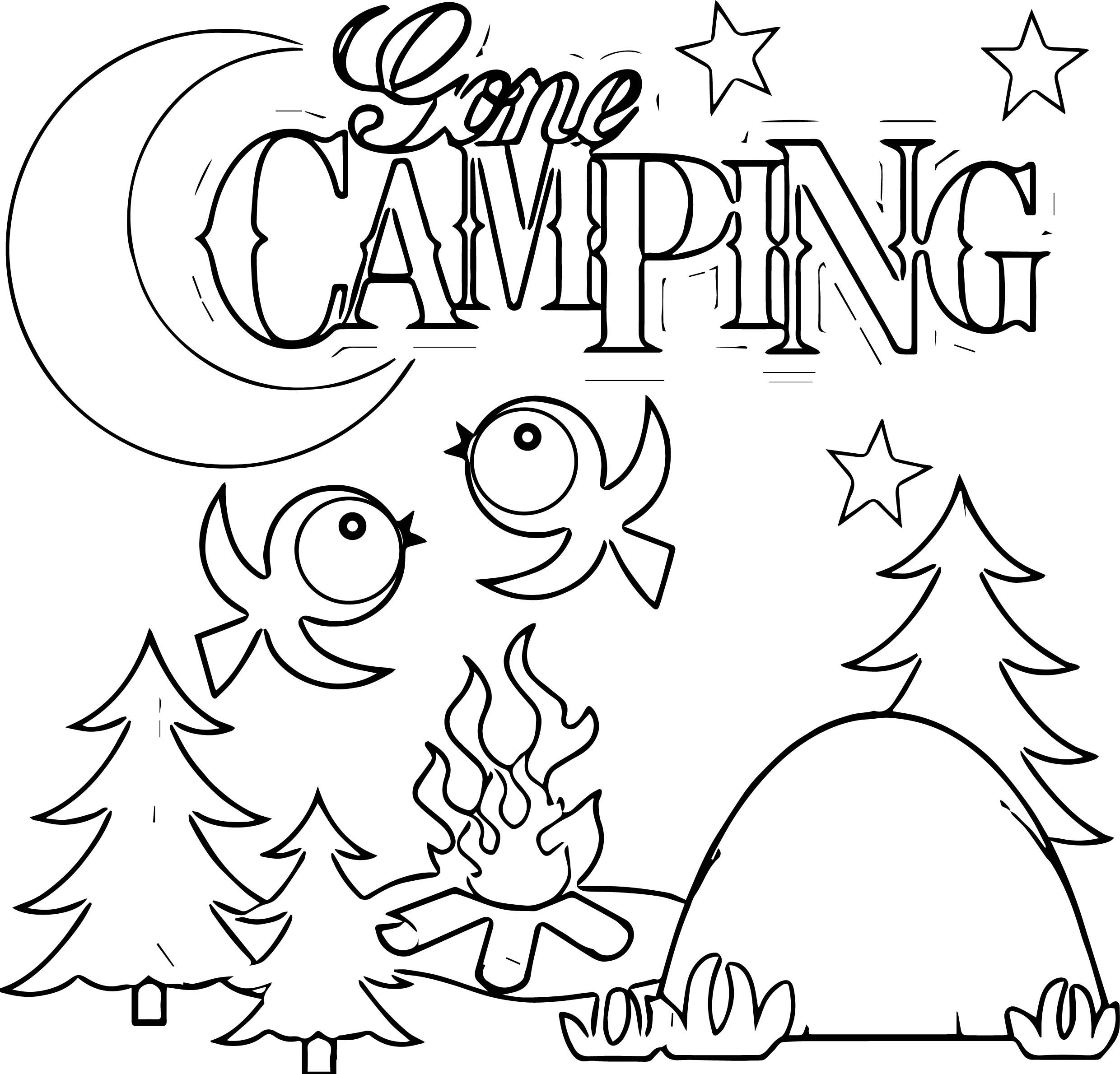 Cool Camping Gone Bird Coloring Page