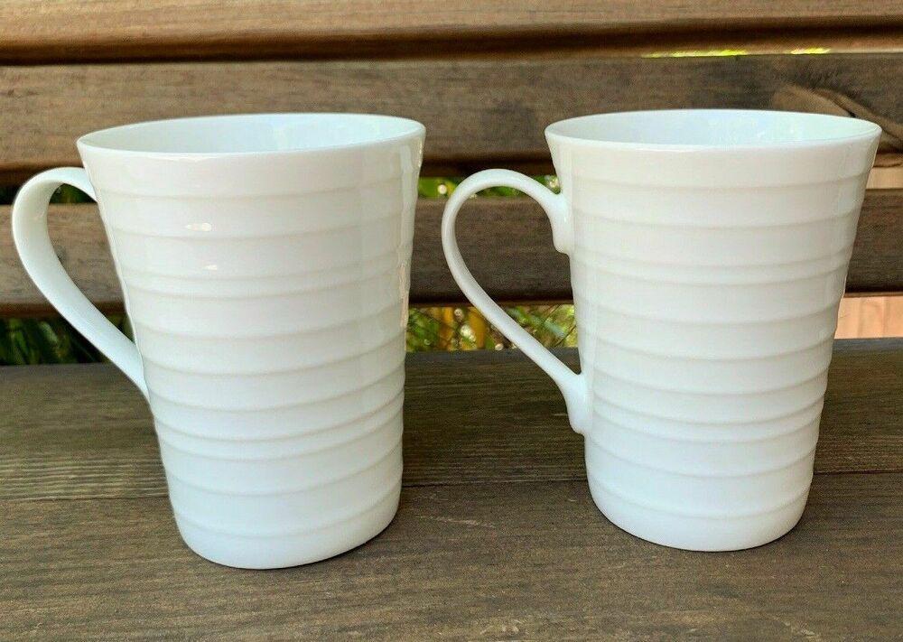 MIKASA Ciara Bone China Pair of Coffee Cups White Mikasa