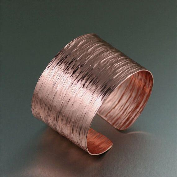 Stunning Handcrafted Copper Cuff Bark Bracelet on Etsy #Jewelry #Earrings https://www.designerjewelry4less.com/jewelry-on-etsy-2/stunning-handcrafted-copper-cuff-bark-bracelet-on-etsy/