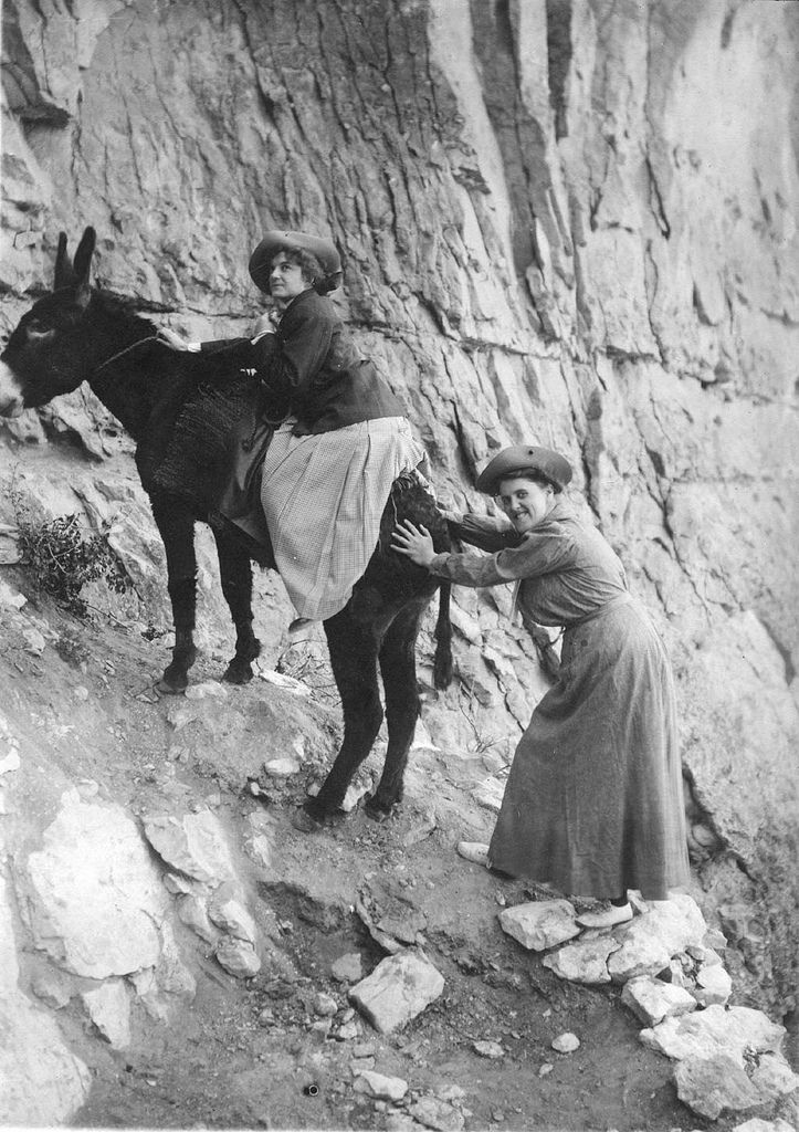WOMEN ¥ (1910) One woman sits on a mule with another tries to push them both up the Bright Angel Trail at the Grand Canyon, circa 1910. Looks like it might be a long trip up…