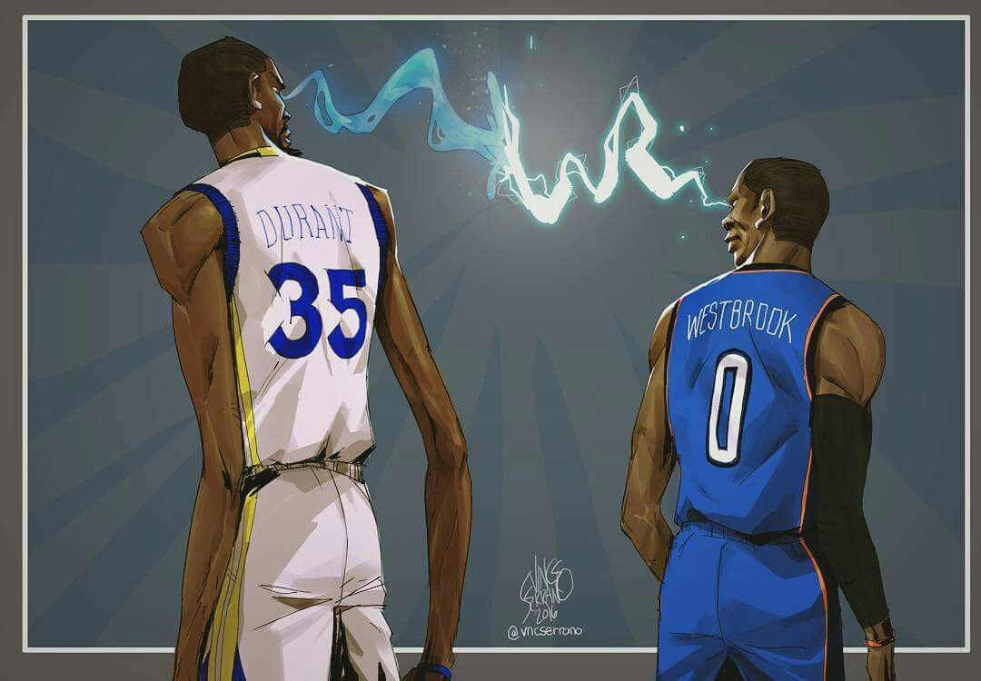 Dope Cartoon Nba Players: Kevin Durant X Russell Westbrook