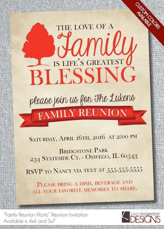 Rustic Family Reunion InvitationDigital FileCustom Colors