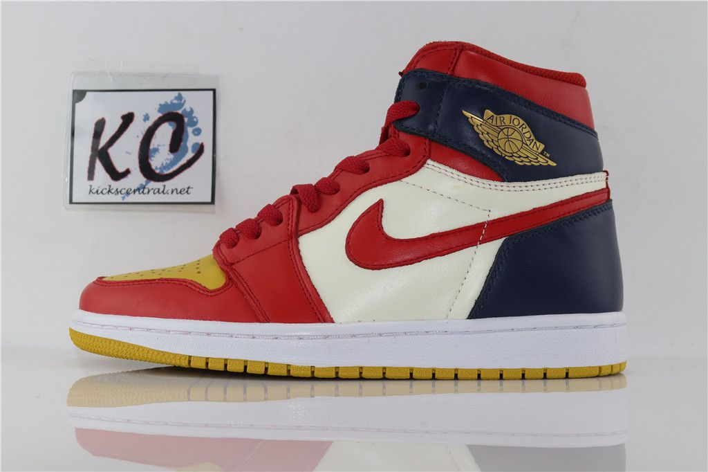 Air Jordan 1 Retro High Og Dark Blue Yellow Red 555088 600 Air Jordans Jordan 1 Retro High Jordans