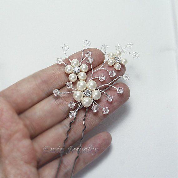 2 Bridal Hair Pin Set H004 Light Ivory Swarovski by adriajewelry, $45.00