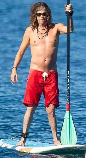 Steven Tyler of Aerosmith Paddleboarding In Hawaii ...