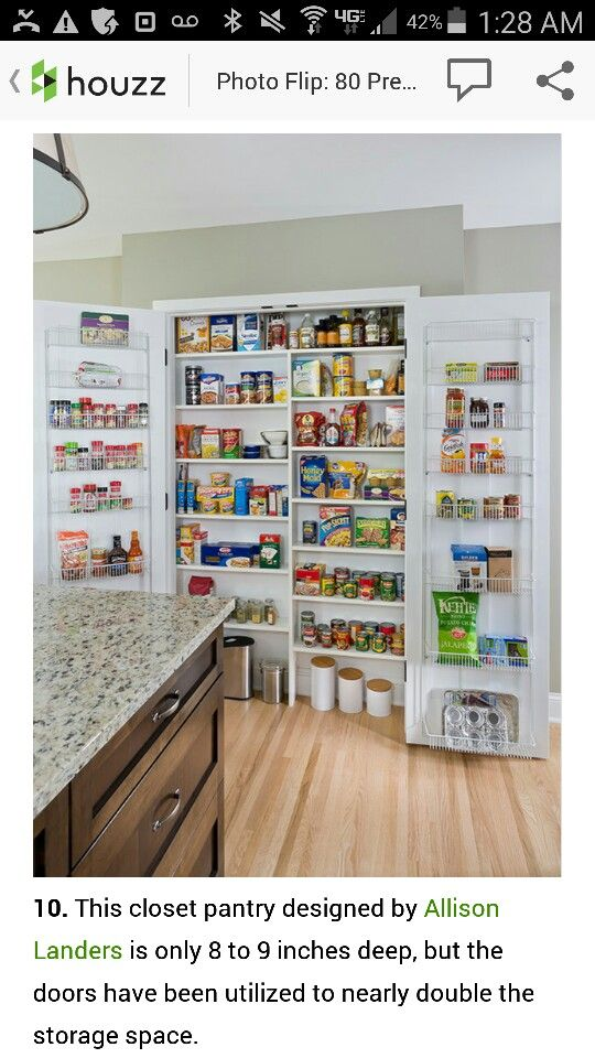 Small Space Closet Pantry On 9 Deep Also Utilizes Doors For Storage Kitchen Pantry Design Pantry Design Kitchen Pantry Doors