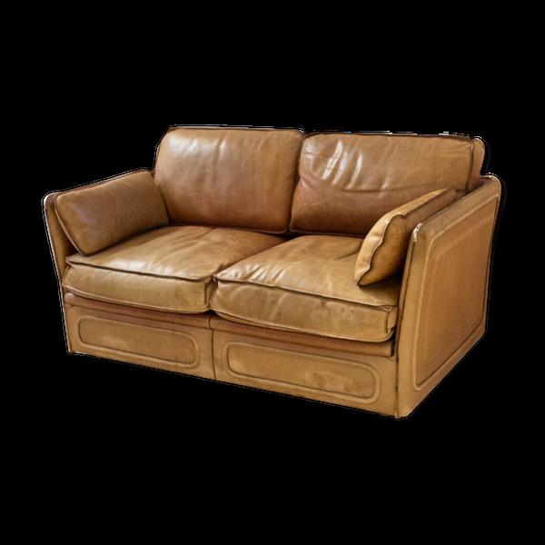 Canapé en cuir pleine fleur avec piqûre à cheval, 1980s   – Products