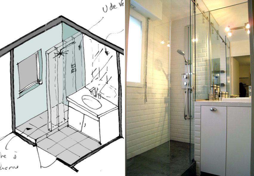 Salle de bain avec douche sur pinterest petite salle de bains remodelage salle de bains for Plan salle de bains d
