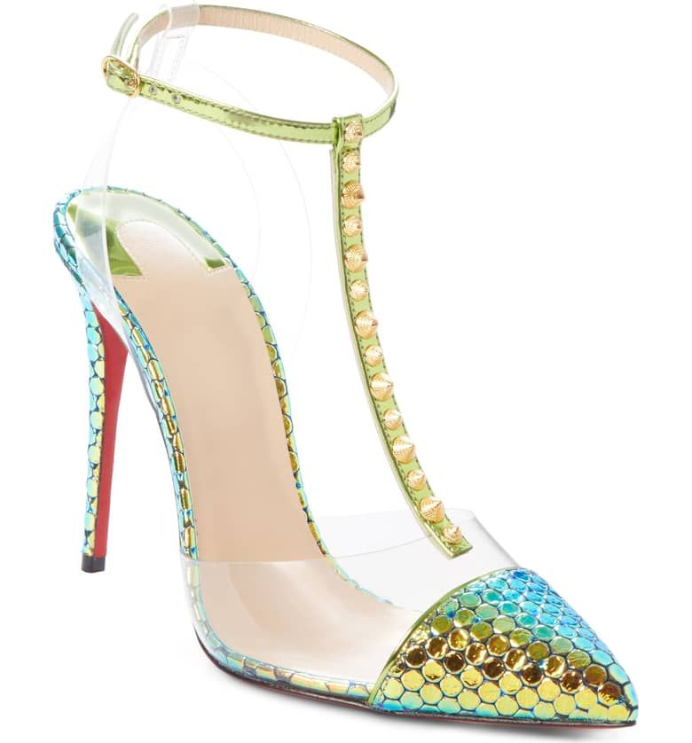 3d28599a630 CHRISTIAN LOUBOUTIN Nosy Spikes T-Strap Pump, Main, color, TAIGA ...